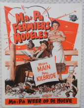Ma and Pa Kettle at Home, Original Belgian Movie Poster, Marjorie Main, Kilbride '54